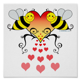 Bumble Bees With Hearts Design Poster