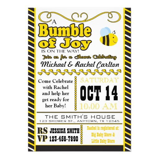 Bumble of Joy Baby Shower Invitation