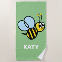 Bumblebee Adorable Kids Yellow Bee Green Beach Towel