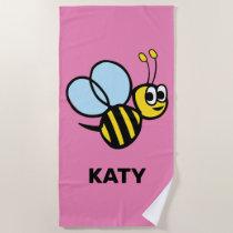 Bumblebee Adorable Kids Yellow Bee Pink Beach Towel