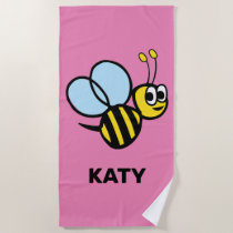 Bumblebee Adorable Kids Yellow Bee Pink Beach Towel