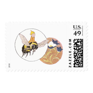 Bumblebee and Gentian Postage