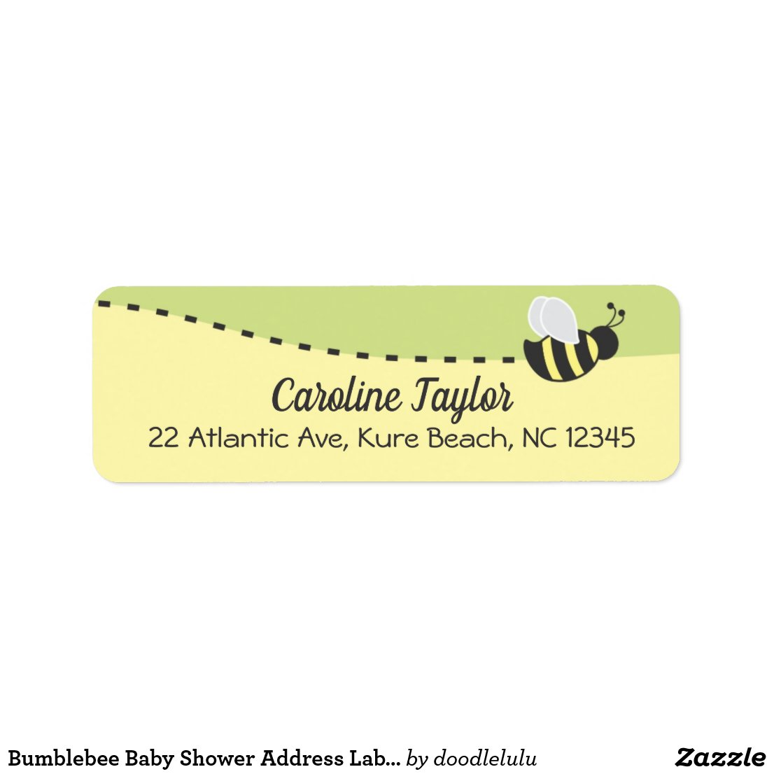 Bumblebee Baby Shower Address Label, Colorblock Label