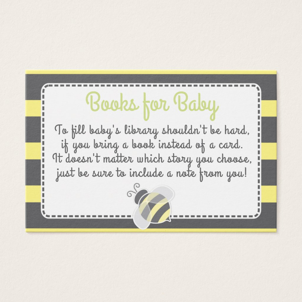Bumblebee Baby Shower Book Request Card