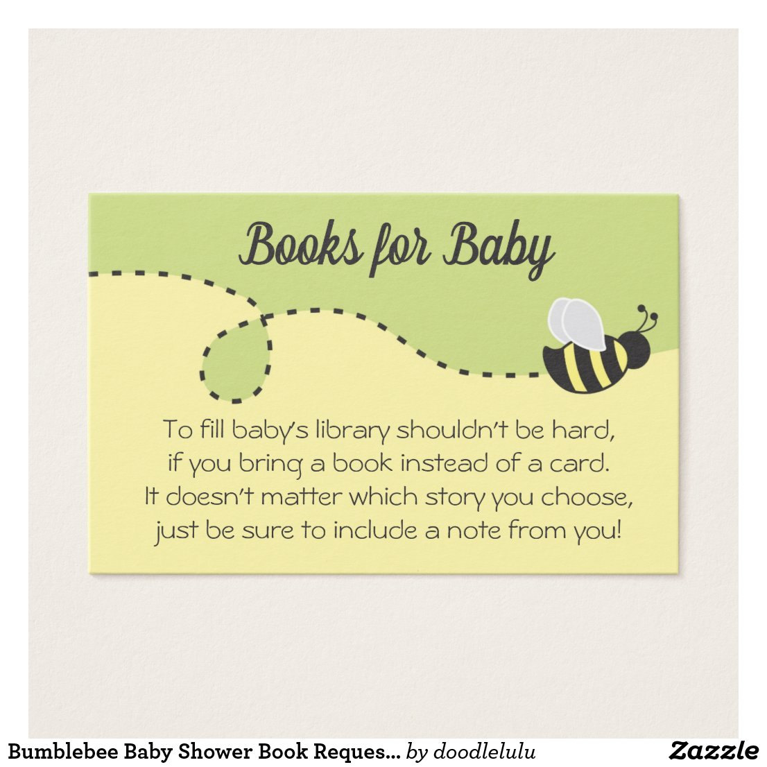 Bumblebee Baby Shower Book Request Card yellow