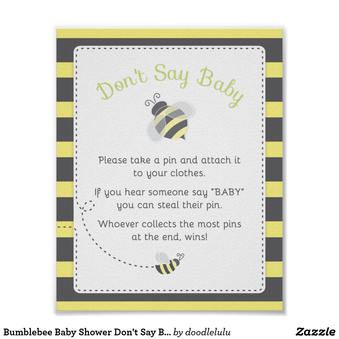 Bumblebee Baby Shower Diaper Thoughts Game Sign