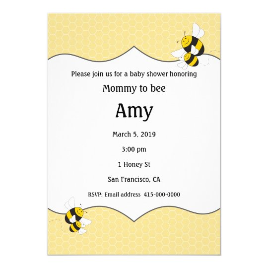 Bumblebee Baby Shower Invitation For Mommy To Bee Zazzle Com