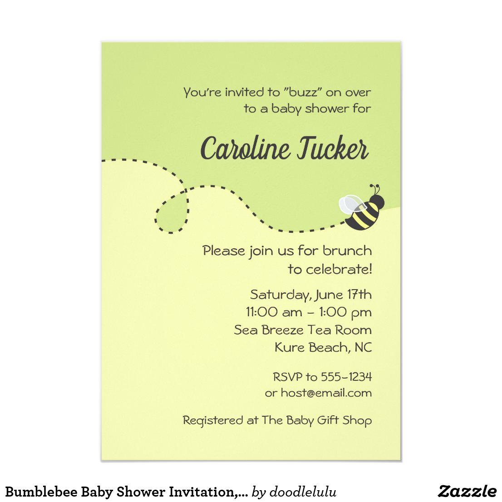 Bumblebee Baby Shower Invitation, Yellow & Green Invitation
