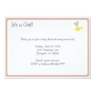 Bumblebee Baby Shower Pink Trim Card