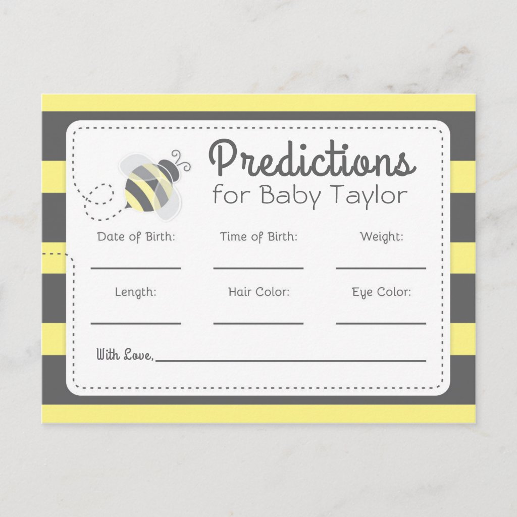 Bumblebee Baby Shower Predictions yellow and black Invitation Postcard