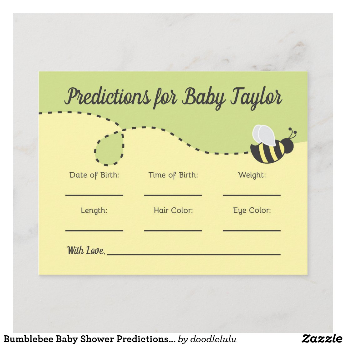 Bumblebee Baby Shower Predictions yellow and green Invitation Postcard