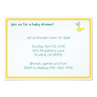 Bumblebee Baby Shower Yellow Trim Card