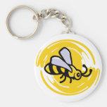 Bumblebee Basic Round Button Keychain