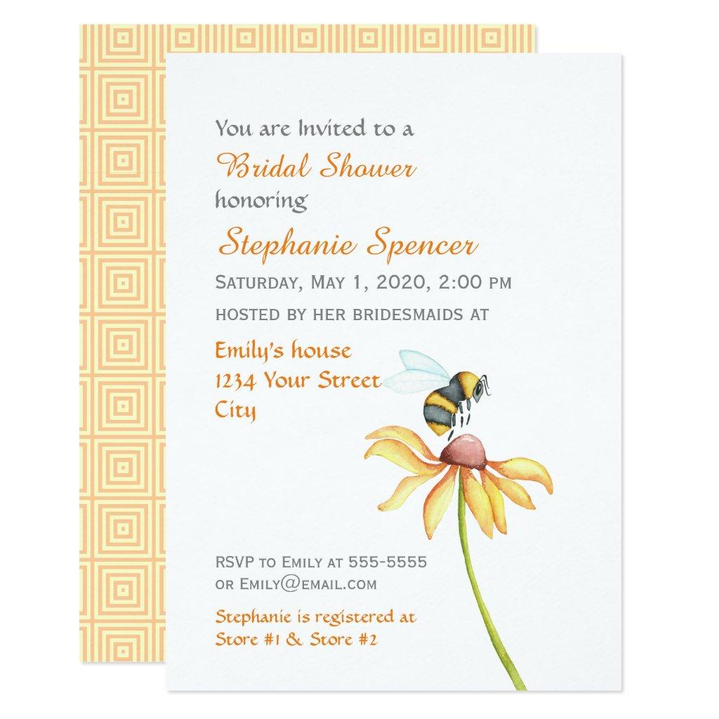 Bumblebee Daisy Watercolor Bridal Shower Card