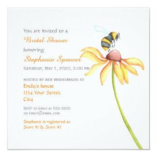 Bumblebee Daisy Watercolor Bridal Shower 5.25x5.25 Square Paper Invitation Card
