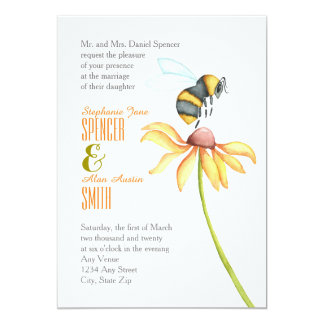 Bumblebee Daisy Watercolor Wedding Invitation