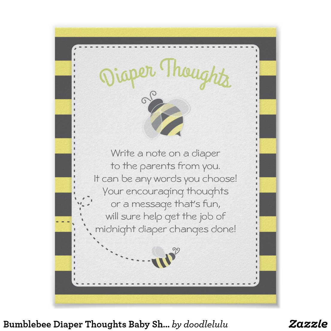 Bumblebee Diaper Thoughts Baby Shower Game Sign