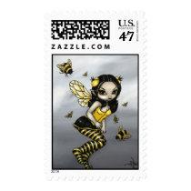 art, fantasy, eye, eyes, big eye, bee, bumblebee, bumble, bumble bee, bumble bees, bumblebee fairy, bumble bee fairy, bumblebees, bees, big eyed, jasmine, becket-griffith, becket, griffith, jasmine becket-griffith, jasmin, strangeling, artist, goth, gothic, fairy, gothic fairy, faery, fairies, faerie, fairie, lowbrow, low brow, big eyes, strangling, fantasy art, original, lowbrow art, pop, Selo postal com design gráfico personalizado