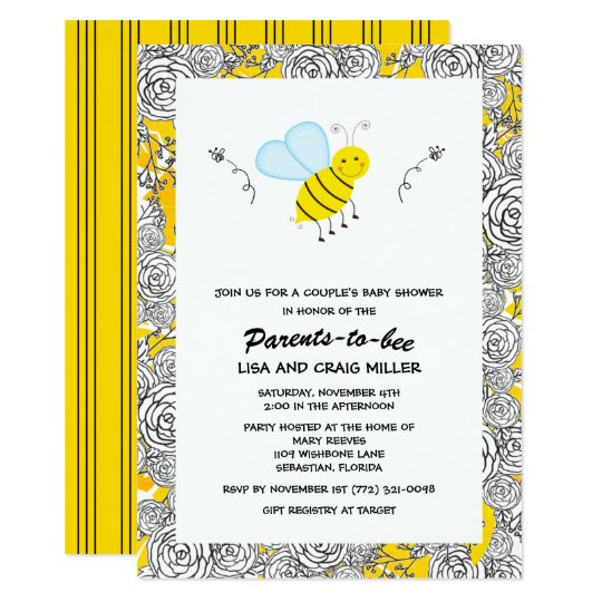 Bumblebee Floral Couple S Baby Shower Invitation Zazzle Com