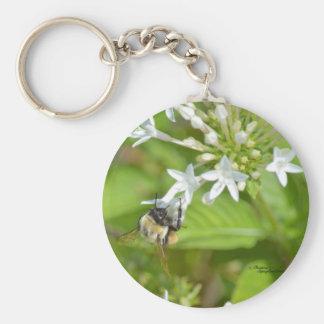 Bumblebee & flowers basic round button keychain