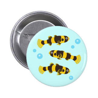 Bumblebee Goby Fish 2 Inch Round Button