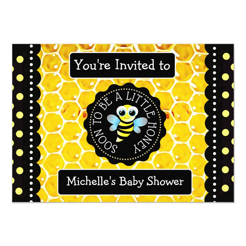 Bumblebee Honeybee Themed Baby Shower Invitation