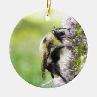 Bumblebee On Agastache Flower Christmas Ornaments