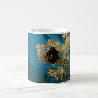 bumblebee on blue classic white coffee mug