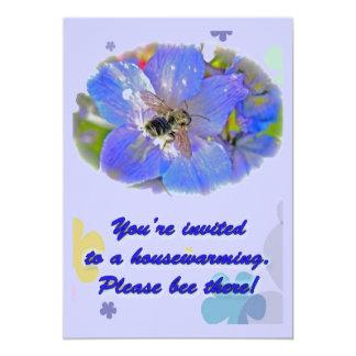 "Bumblebee on Blue Housewarming Invitation 5"" X 7"" Invitation Card"