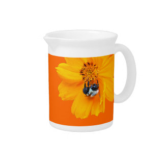 Bumblebee on Cosmos Drink Pitchers