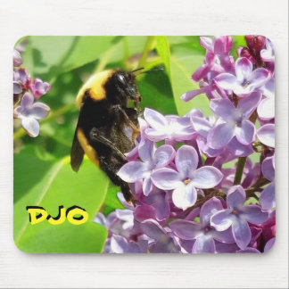 Bumblebee on Lilac blossom Your Initials Mouse Pad