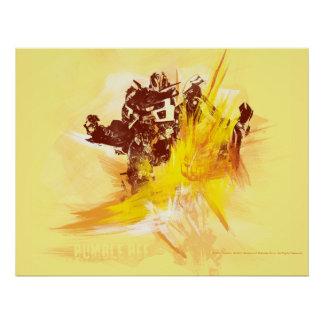 Bumblebee Paint Strokes Poster
