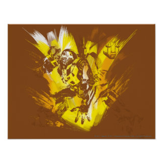 Bumblebee Stylized Paint Strokes Poster