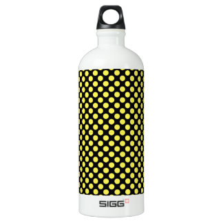 Bumblebee Yellow on Black Small Polka Dot Water Bottle