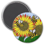 Bumblebees And Sunflowers Fridge Magnet