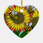 Bumblebees and Sunflowers Ornament