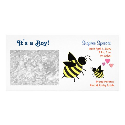BumbleBees Baby Announcement Photo Cards