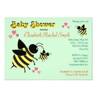 """BumbleBees Baby Shower Invitations 5"""" X 7"""" Invitation Card"""