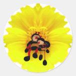 BumbleBees & Flower Round Stickers