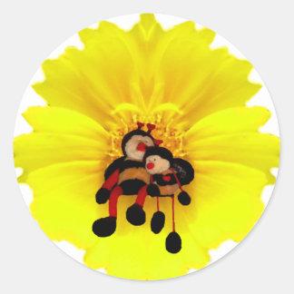 BumbleBees & Flower Classic Round Sticker
