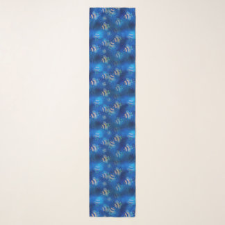 Bumblebees Flying Blue Pattern Scarf