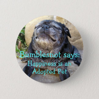 Bumblesnot button: Happiness is an adopted pet Button