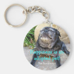 Bumblesnot keychain:  Happiness is an adopted pet Basic Round Button Keychain