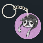 """Bumblesnot Memorial acrylic keychain<br><div class=""""desc"""">This adorable one-of-a-kind caricature was designed by artist Inkpug in honor and memory of our dear Bumblesnot,  with our humble gratitude and thanks!  You don&#39;t want to miss out!  All our proceeds,  as always,  are donated to pet rescue.</div>"""