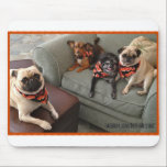 "Bumblesnot Mousepad: The Bacon Bunch Mouse Pad<br><div class=""desc"">Let The Bumble Bunch in their snazzy bacon bandannas help you surf the web.   All proceeds donated to pet rescue.</div>"