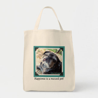 Bumblesnot Tote Bag: Happiness is a rescued pet! Grocery Tote Bag