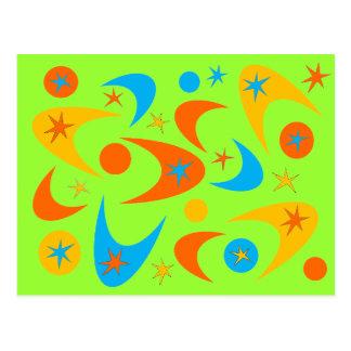 Bumerán amarillo-naranja y de la aguamarina retro  postal