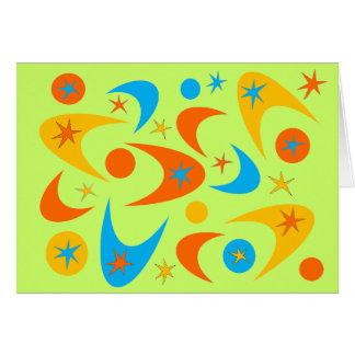 Bumerán amarillo-naranja y de la aguamarina retro  tarjeta de felicitación