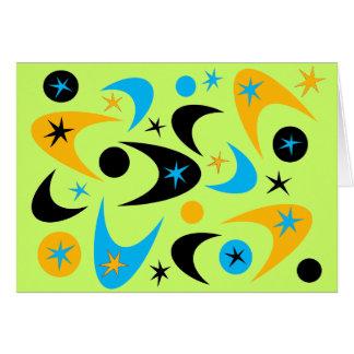 Bumerán amarillo retro de Starburst del negro y de Tarjeta De Felicitación