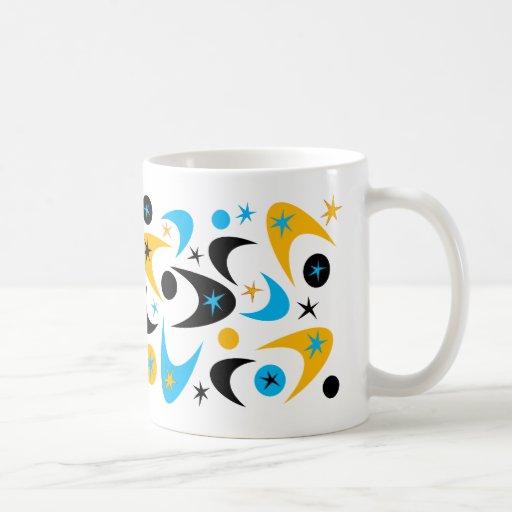 Bumerán amarillo retro de Starburst del negro y de Tazas De Café